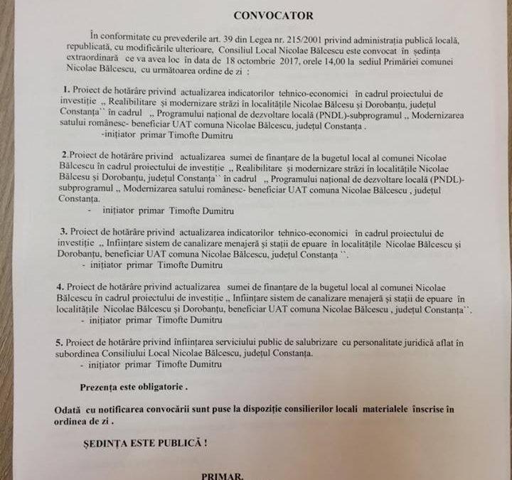 Primarul Dumitru Timofte convoaca pentru miercuri, 18.10.2017, de la ora 14, consilierii locali ai comunei Nicolae Balcescu intr-o sedinta extraordinara